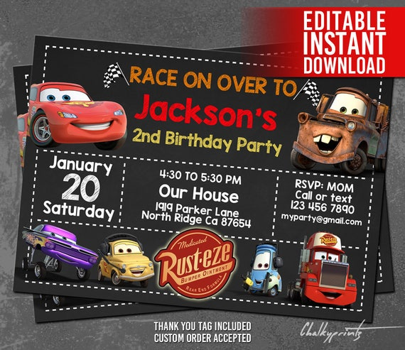 disney cars invitation instant download disney cars birthday, Birthday invitations