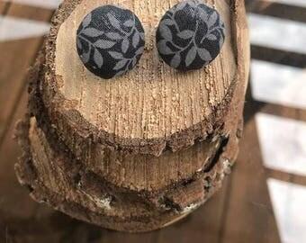 Gray Flower Button Fabric Earrings