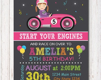 Race Car Birthday Invitation, Race Invitation, Racing Car Invite, Girls Birthday, printable