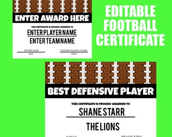 Football certificates templates youth football kid football award certificate football digital print football end of season party football printable yadclub Gallery