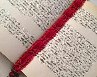 Ribbon bookmark red bookmark Crystal bookmark for book reading reader gift MOM gift women-books gift heart accessory