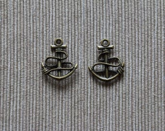 Anchor charms - Antique bronze - 22 x 18 mm - 4 pcs
