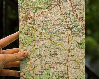Map cover notebook, notebook, notebook, handmade, stationery, handmade card, made in France.