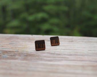Wood Studs Minimalist Studs Wood Post Earrings Minimalist Jewelry Handmade Natural Gift for Her Geometric Earrings Natural and Minimalist