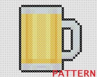 Beer Mug Counted Cross Stitch PATTERN / Beer Mug Cross Stitch / Cat toy Cross Stitch Pattern / Small Cross Stitch Pattern /Beer Cross Stitch