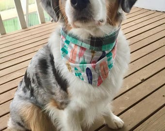 Pastel Feather & Plaid Tie-On Dog Bandana Reversible