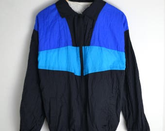 Windbreaker vintage Men L 90s windbreaker Vintage Windbreaker Bomber jacket Colorblocking Vintage jacket men 90s jacket 80s windbreaker