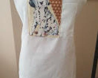 Apron with Dog image and pocket top, tie waist, adjustable neck band