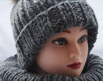 Warm hat Womens hats Gray hat Handmade hat Knitted beanie Gift for her Christmas gift Winter beanie hat Wool beanie Gift Womens slouchy hat