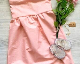 Toddler Girl 4T Ruffled Sleeve Pink and White Polka Dot Dress