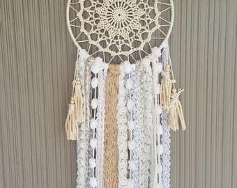 Medium White/Beige/Peach Crochet Doily Boho Dreamcatcher