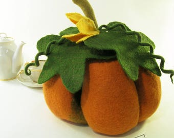 Tea cosy orange pumpkin warmer teapot cozy halloween gift for grandma anniversary gifts for mom wool exclusive gift new home gift for wife