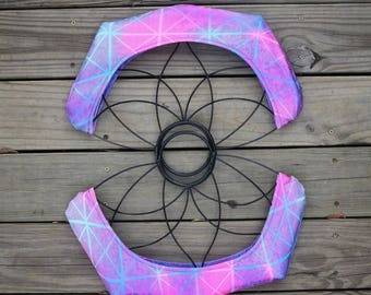 Fire Fan Wick Covers - Cotton Candy Tiles - Medium Lotus Fans - Home of Poi