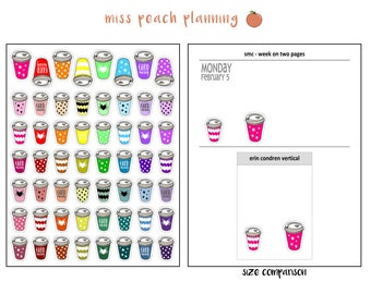 hot beverage stickers || coffee stickers || tea stickers || planner stickers || img 11