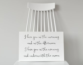 """Nursery Decor """"Love You In The Morning"""" Wood Sign"""