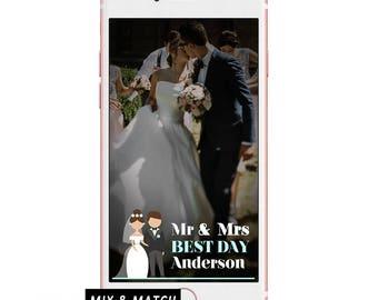 Cartoon Wedding Geofilter/ Cartoon Wedding Snapchat Filter/ Wedding Snapchat Geofilter/ Geofilter Wedding Cartoon/ Snapchat Filter Wedding