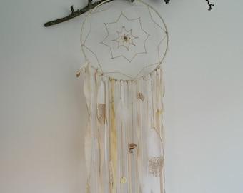 Boho dreamcatcher white & gold XL