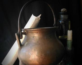 antique 1700s bronze cauldron wicca goth gothic oddities alchemy alchimist occult antico calderone rituale settecentesco in bronzo alchimia
