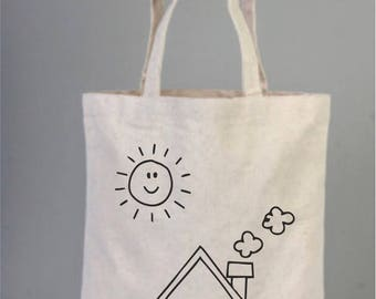 Color me in Picture, Coloring Tote Bag, Natural Gift Bags, Birthday Thank You Gifts,  Canvas Coloring Bag, Cotton Bag with Sun and Home