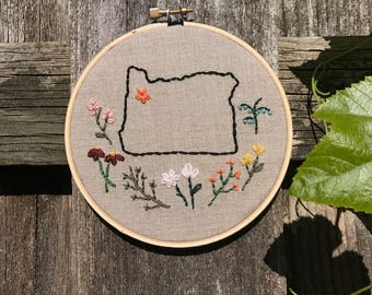 custom state with wildflowers | embroidery hoop art