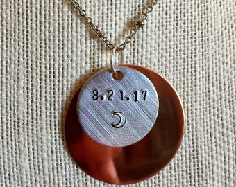 Handmade, Stamped Solar Eclipse Necklace/Pendant