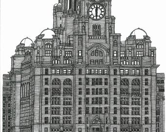 A3 Continuous line drawing of Royal Liver Building in Liverpool. Using Black Fine liner on a White background.