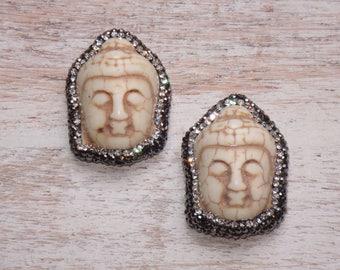 Large Buddha Carved Micro Pave Bead, CZ Buddha Bead, Carved Bead, Howlite Buddha Bead