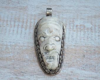 Boho Chic Large Tibetan Silver Bone Skull Engraved Flower Pendant Tibetan Pendant Nepalese Pendant