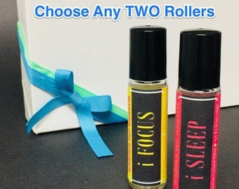 Gift Set: Choose ANY TWO Essential Oil Roller Blends for Set of (2) - Artisan Essential Oil Aromatherapy Mood Blends - 10 mL Roller Bottles