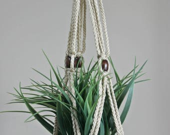 Beige Macrame Plant Hanger with Wooden Beads