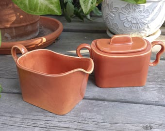Franciscan Tiempo Apricot/Copper Sugar Bowl and Creamer