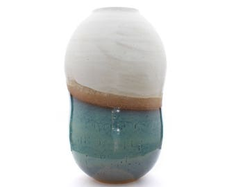 Wheel thrown Ceramic Vase w/Textured Turquoise and White Glaze by fingg!