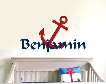 Personalized Name Wall Decal Anchor Wall Sticker Nursery Vinyl Art. Baby Boy Nursery Decor. Anchor Name Boy Children Nursery Wall Decal F16