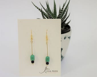 green turquoise and lava, semiprecious stones, dangle earrings, minimal, modern, gold plated,  perfect birthday gift valentines day