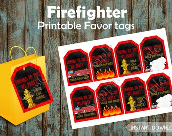 Firefighter Favor Tags, Firefighter Gift Tags, Firefighter Party Tags, Fireman Favor tags, Fireman Gift Tags, Fire Truck printable favor tag