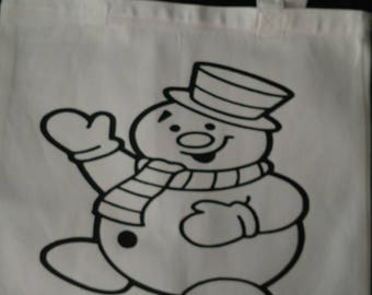 Frosty Tote bag/Design on front/Writing on back