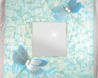 mirror, courtesy ice, pastel blue wood Dragonfly 3D silk and transparent-romantic - 25.5 cm