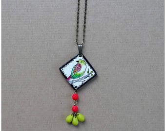 Porcelain necklace - Necklace - a bird on a branch