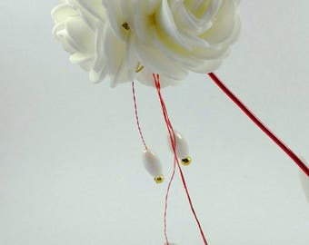 White roses bridal hair stick