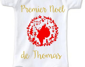 First Christmas personalized Bodysuit with + name
