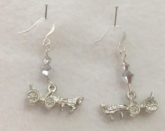 SP Pierced Earrings - Pewter Horse & Carriage with Crystal Cal Swarovski Crystals