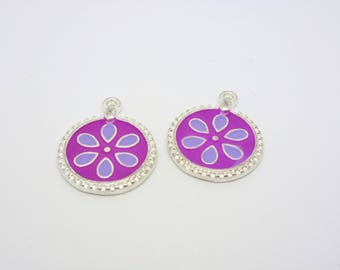 4 21 * 17mm purple enameled round charms clear silver base (USBA26)