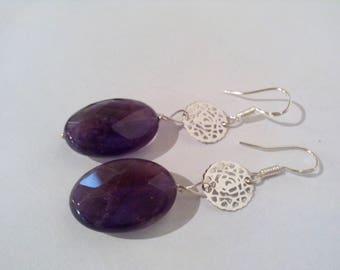 Amethyst earrings, Silver earrings 925, natural gemstones, Amethyst, dangle earrings jewelry