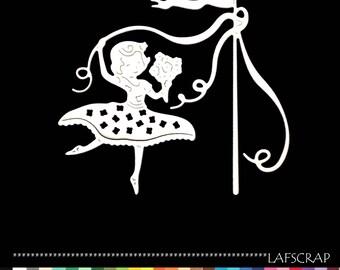 1 cut Ribbon flower girl princess fairy dress newborn baby birthday die cut paper embellishment