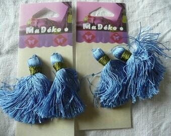 2 x 2  blue and green tassels - MA DEKO - new