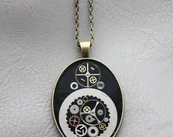 Necklace + pendant Oval large FORMAT in resin and gears (Steampunk)