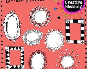 Hand Drawn Doodle Frames Clip Art Graphics PNG, Hand Drawn Clip Art