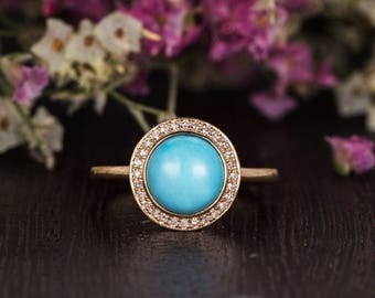 Antique Turquoise Engagement Ring Yellow Gold Unique Halo Diamond Bridal Anniversary Women Retro Plain Band Antique Promise Gift For Her