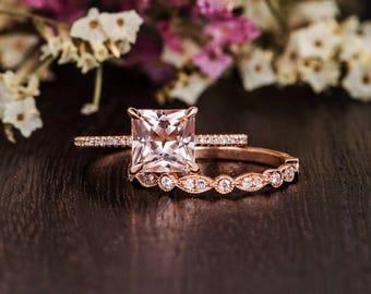 Unique Morganite Ring Rose Gold Art Deco Wedding Band Women Bridal Set Princess Cut Morganite Engagement Diamond Antique Anniversary 2pcs