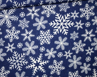 Fabric Christmas, winter, 100% cotton printed 50 x 160 cm, snow white on blue background